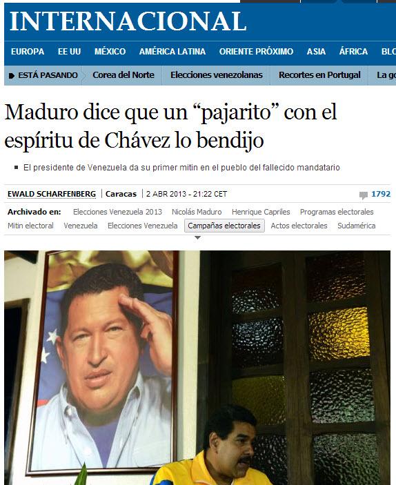 El Pais contra Maduro y Chávez