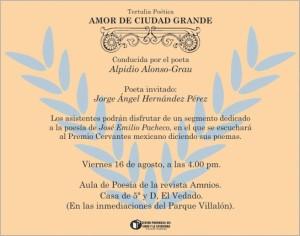 Amor de ciudad Grande con Jorge Ángel Hdez Jueves 16 de agosto de 2013